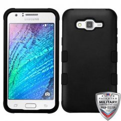 Samsung Galaxy J7 Rubberized Black/Black Hybrid Case