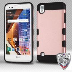 LG X Style / Tribute HD Rose Gold/Black Hybrid Case Military Grade