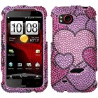 HTC Rezound Cloudy Hearts Diamante Protector Cover