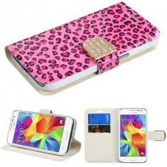 Samsung Galaxy Core Prime Pink Leopard Skin Wallet with Diamante Belt