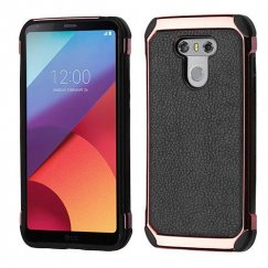 LG G6 Black Lychee Grain(Rose Gold Plating)/Black Astronoot Case