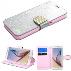 Samsung Galaxy S6 Silver Glittering Wallet with Diamante Belt