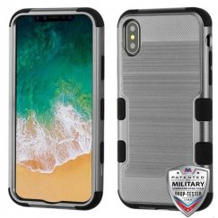 Apple iPhone X Dark Gray Brushed/Black Hybrid Case Military Grade