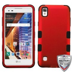 LG X Style / Tribute HD Titanium Red/Black Hybrid Case Military Grade