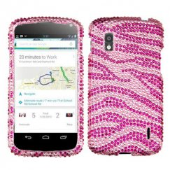 LG Nexus 4 Zebra Skin (Pink/Hot Pink) Diamante Case