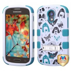 Samsung Galaxy Light Cutedogs/Tropical Teal Hybrid Case with Stand