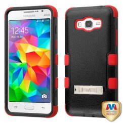 Samsung Galaxy Grand Prime Natural Black/Red Hybrid Case with Stand