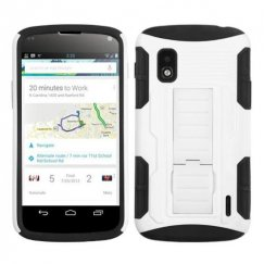LG Nexus 4 White/Black Car Armor Stand Case - Rubberized