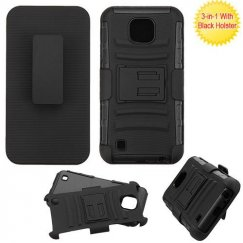 LG X Cam K580 Black/Black Advanced Armor Stand Case with Black Holster