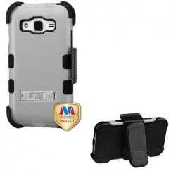 Samsung Galaxy Core Prime Natural Gray/Black Hybrid Case with Stand and Black Horizontal Holster