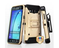 Samsung Galaxy On5 Gold/Black 3-in-1 Kinetic Hybrid Case Combo (with Black Holster)(Tempered Glass Screen Protector)