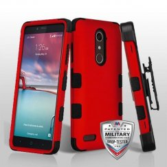 ZTE Grand X Max 2 Titanium Red/Black Hybrid Phone Case Military Grade with Black Horizontal Holster