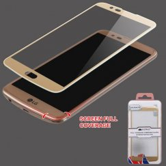 LG K10 Full Coverage Tempered Glass Screen Protector - Gold