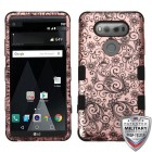 LG V20 Black Four-Leaf Clover 2D Rose Gold/Black Hybrid Case
