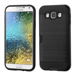 Samsung Galaxy E5 Black/Black Brushed Hybrid Case with Card Wallet
