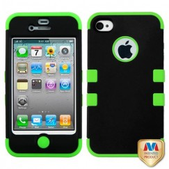 Apple iPhone 4/4s Rubberized Black/Electric Green Hybrid Case