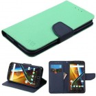 Motorola Moto G4 / Moto G4 Plus Teal Green Pattern/Dark Blue Liner wallet (with card slot)