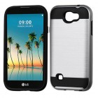 LG K3 Silver/Black Brushed Hybrid Protector Cover