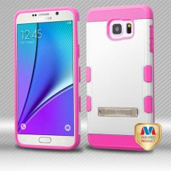 Samsung Galaxy Note 5 Natural Cream White/Electric Pink Hybrid Case with Stand