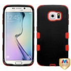 Samsung Galaxy S6 Edge Natural Black/Red Hybrid Phone Protector Cover