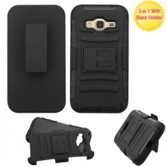 Samsung Galaxy J3 Black/Black Advanced Armor Stand Case with Black Holster