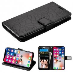 Apple iPhone X Black Rose Embossed Wallet