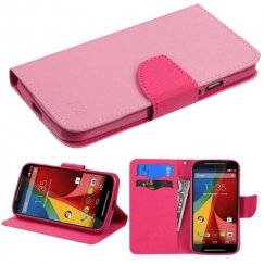 Motorola Moto G Pink Pattern/Hot Pink Liner Wallet with Card Slot