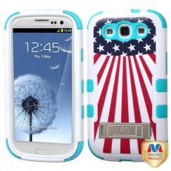 Samsung Galaxy S3 United States National Flag/Tropical Teal Hybrid Case with Stand