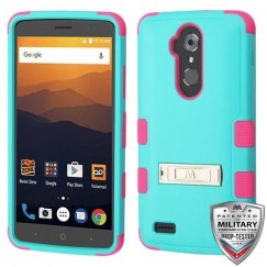 ZTE Blade Max 3 / Max XL Natural Teal Green/Electric Pink Hybrid Case with Stand