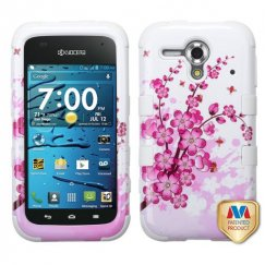 Kyocera Hydro Edge Spring Flowers/Solid White Hybrid Case