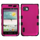 LG Optimus F3 Titanium Solid Hot Pink/Black Hybrid Case