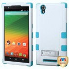 ZTE ZMax Natural Ivory White/Tropical Teal Hybrid Case with Stand