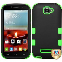 Alcatel One Touch Fierce 2 Rubberized Black/Electric Green Hybrid Case
