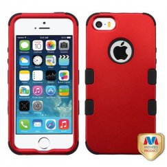 Apple iPhone 5/5s Titanium Red/Black Hybrid Case