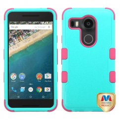 LG Nexus 5X Natural Teal Green/Electric Pink Hybrid Case