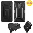 LG G Stylus 2 Black/Black Advanced Armor Stand Protector Cover (With Black Holster)