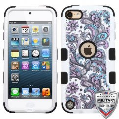 Apple iPod Touch (6th Generation) Purple European Flowers/Black Hybrid Case