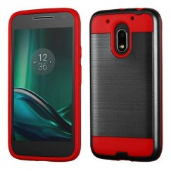 Motorola Moto G4 Play Black/Red Brushed Hybrid Case