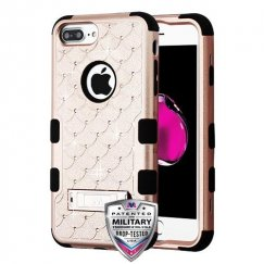 Rose Gold/Black FullStar Hybrid Protector Cover (with Stand)[Military-Grade Certified]
