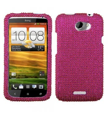 HTC One X Hot Pink Diamante Protector Cover(Diamante 2.0)