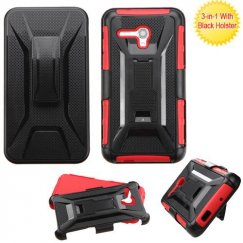 Alcatel One Touch Fierce XL Black/Red Advanced Armor Stand Case with Black Holster
