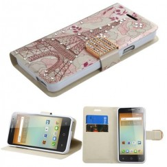 Alcatel One Touch Elevate Eiffel Tower Diamante Wallet with Diamante Belt