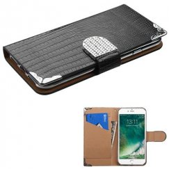 Apple iPhone 8 Black Crocodile Skin Wallet with Metal Diamonds Buckle & Silver Plating Tray