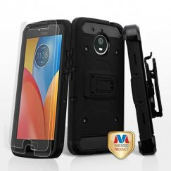 Motorola Moto E4 Plus Black/Black 3-in-1 Kinetic Hybrid Case Combo with Black Holster and Tempered Glass Screen Protector
