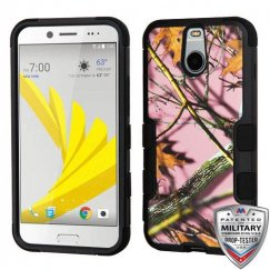HTC Bolt Pink Oak-Hunting Camouflage Collection/Black Hybrid Case Military Grade