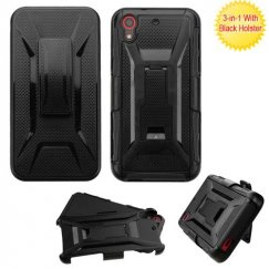 HTC Desire 626 Black/Black Advanced Armor Stand Case with Black Holster
