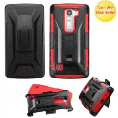 LG Escape 2 Black/Red Advanced Armor Stand Case with Black Holster
