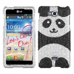 LG Spirit 4G Playful Panda Diamante Case