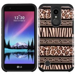 LG K10 Zebra Skin-Leopard Skin/Black Advanced Armor Case
