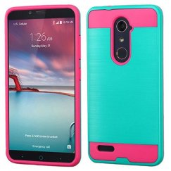 ZTE Grand X Max 2 Teal Green/Hot Pink Brushed Hybrid Case